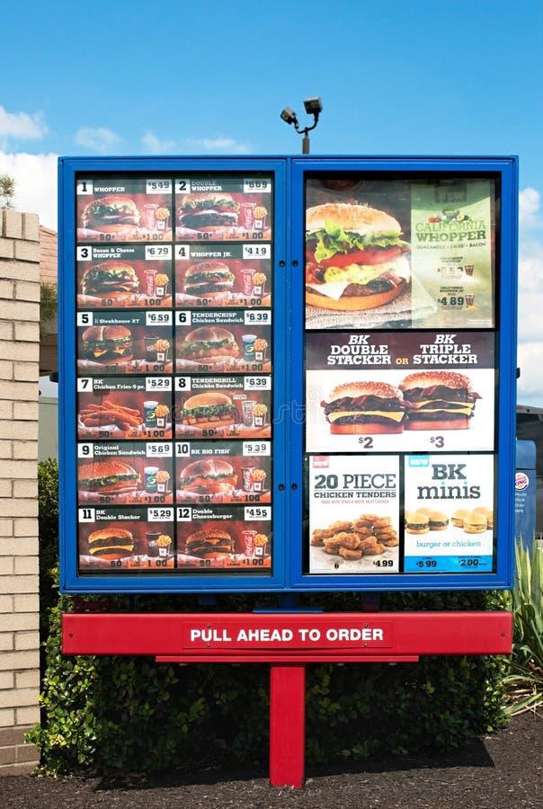 Burger King menysignage royaltyfria foton