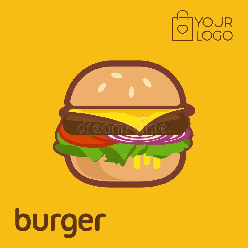 Burger Logo icon flat design, Vector illustration banner stock illustration