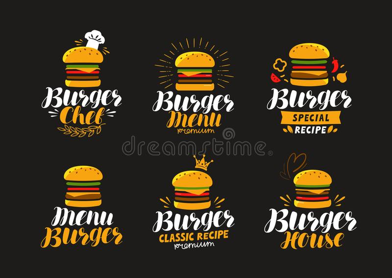 Burger logo or label. Fast food, eating concept. Vector illustration vector illustration