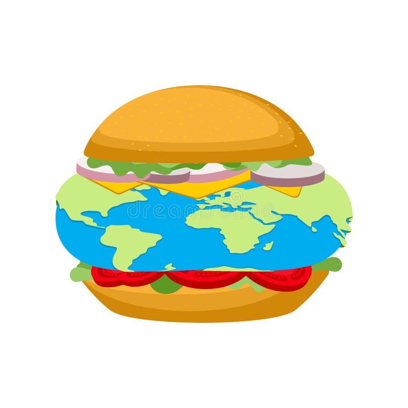Burger made earth. Galactic hamburger. vector illustration.  stock illustration