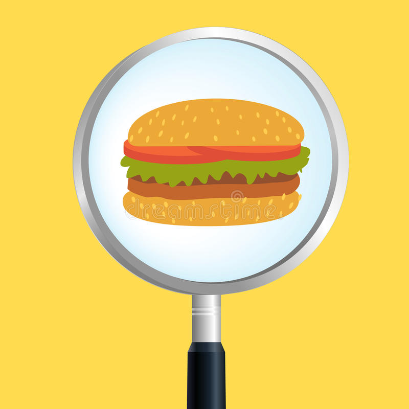 Burger magnify. Food search, hambueger and magifier vector illustration