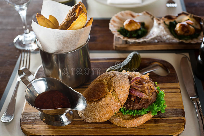 BURGER MEAL royalty free stock image