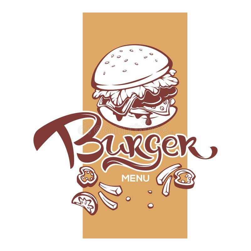 Burger-Menü, Humburger-Bild mit dem Beschriften der Zusammensetzung für Ihr Fastfood-Restaurant vektor abbildung