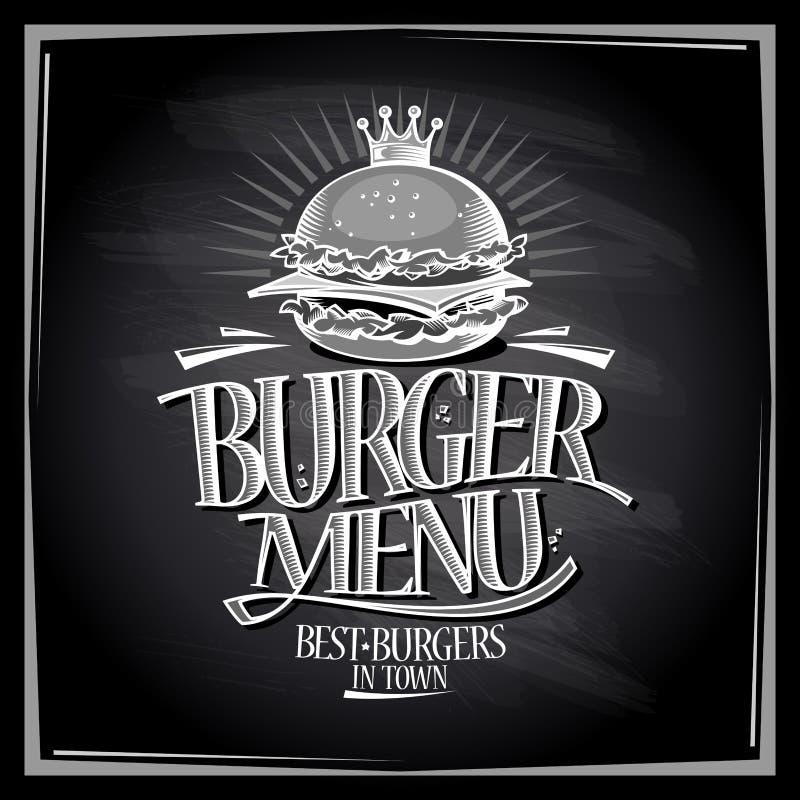 Burger menu chalkboard design vector illustration