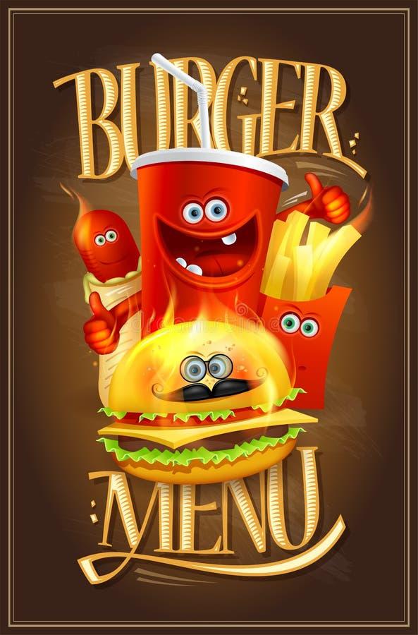 Burger menu cover design with fast food symbols stock illustration
