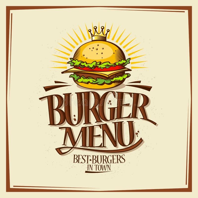 Burger menu design concept, fast food vintage design with hamburger stock illustration