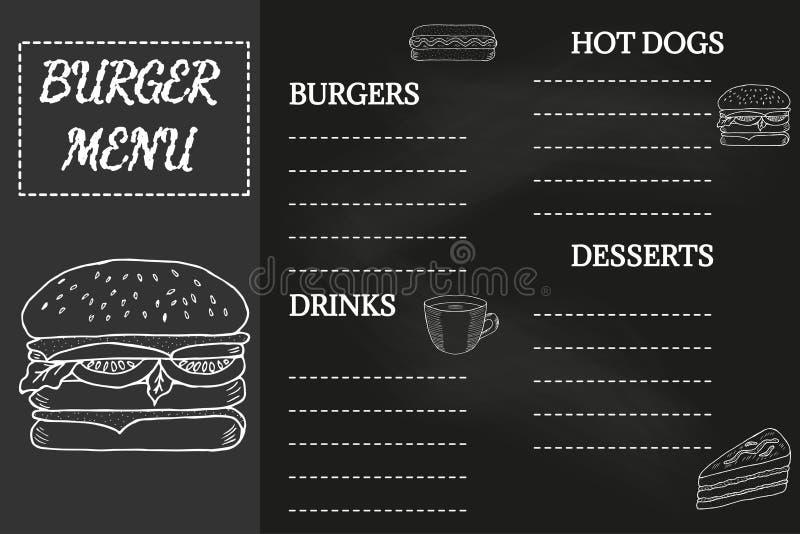 Burger menu, chalkboard royalty free illustration