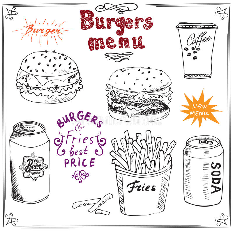 Burger Menu hand drawn sketch. Fastfood Poster with hamburger, cheeseburger, potato sticks, soda can, coffee mug and beer can. Vec royalty free illustration