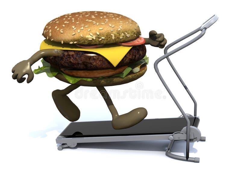 Burger mit den Armen und den Beinen auf einer laufenden Maschine lizenzfreie abbildung