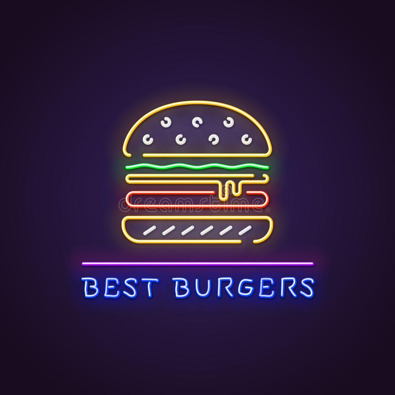 Burger neon banner vector illustration