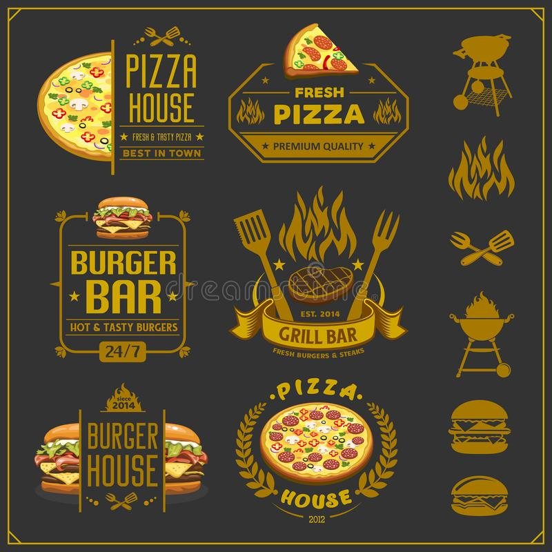 Burger, pizza and bbq emblems, labels and design elements. Fast food restaurant logo design template. Vector royalty free illustration