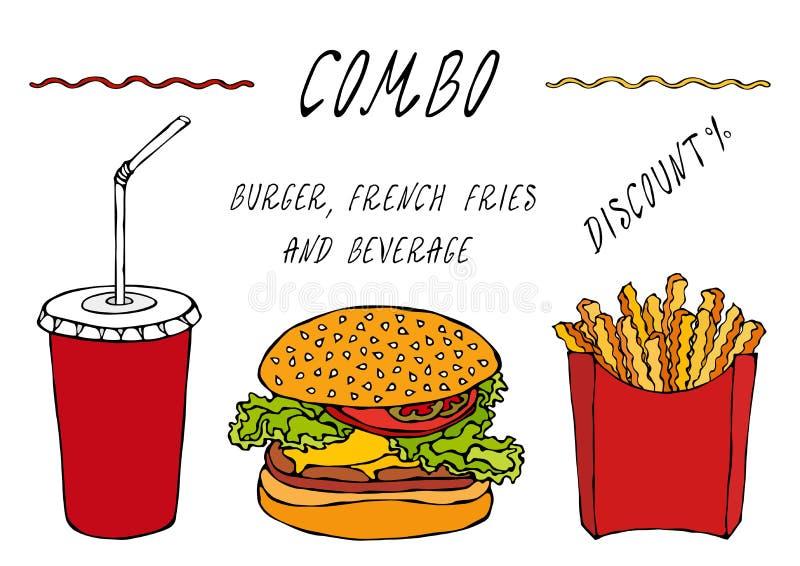 Burger, Pommes-Frites in einem Kasten und Papierschale des Kolabaum-kombinierten Rabattes Anzeigen-Straßen-Schnellimbiss-Menü Han stock abbildung