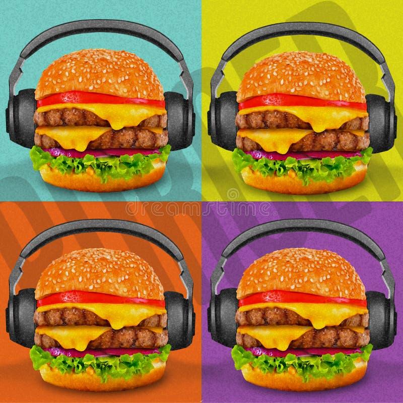 Burger-Pop-Art lizenzfreie stockfotografie