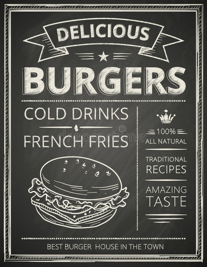 Burger poster. Stylized like sketch drawing on the chalkboard.Vector illustration vector illustration