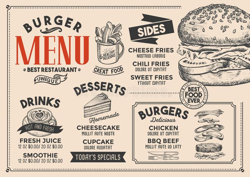 Burger menu restaurant, food template. Burger restaurant menu. Vector food flyer for bar and cafe. Design template with vintage hand-drawn illustrations stock illustration