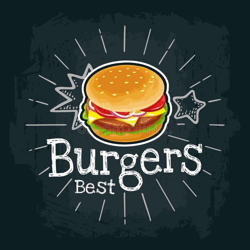 Burger schließen Kotelett, Tomate, Käse und Salat mit ein Flache Illustration des Vektors lizenzfreie abbildung