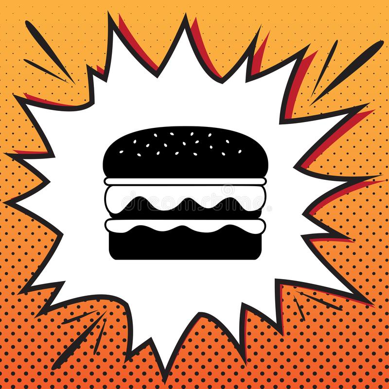Burger simple sign. Vector. Comics style icon on pop-art background.. Illustration. vector illustration