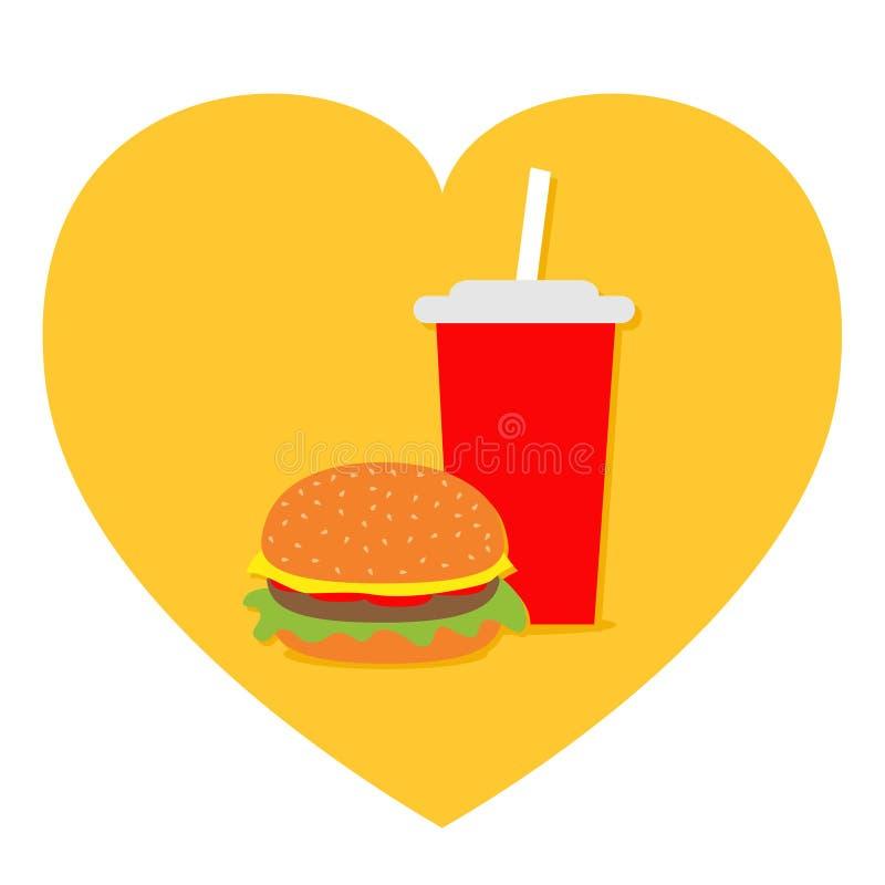 Burger. Soda drink glass with straw Icon set. Heart shape. I love Movie Cinema. Fast food menu. Flat design. White background. stock illustration