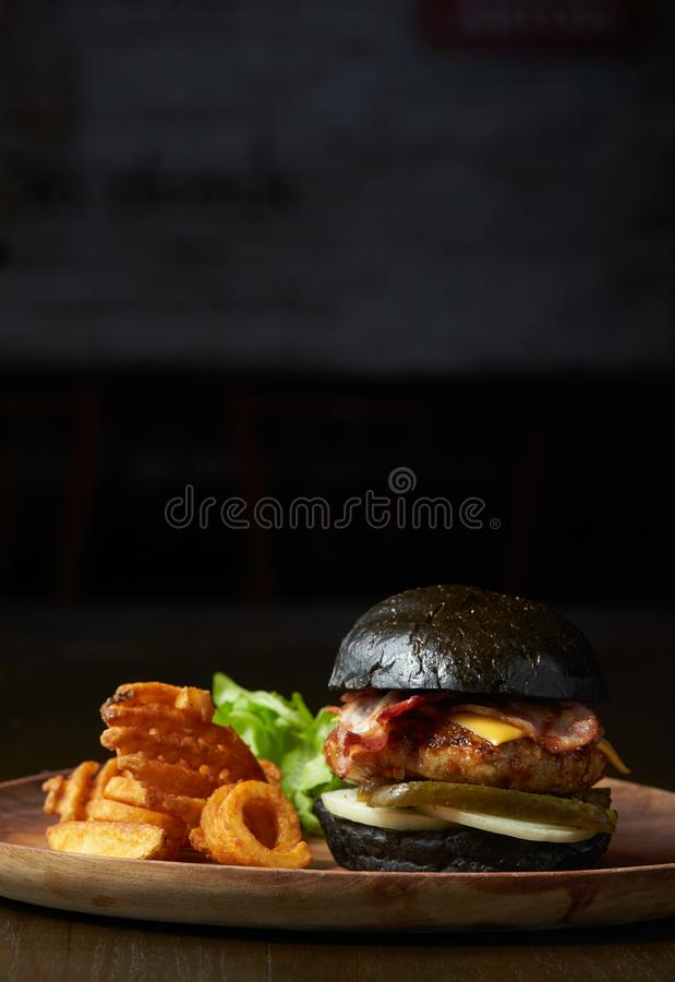 Burger with special dish. A set of burger with special dish with potato fries stock photo