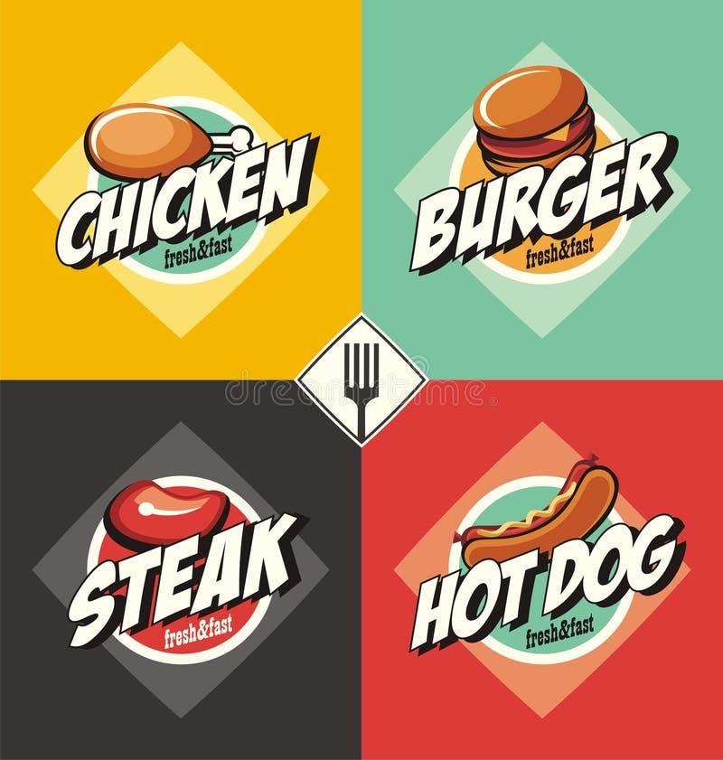 Burger, Steak, Hotdog und gebratenes Hühnerzeichen und -fahnen lizenzfreie abbildung
