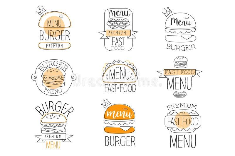 Burger-Stra?en-Lebensmittel Promo beschriftet Sammlung Schnellimbi? des erstklassigen Qualit?ts-Anzeigen-Zeichen-Satzes Helle Far stock abbildung