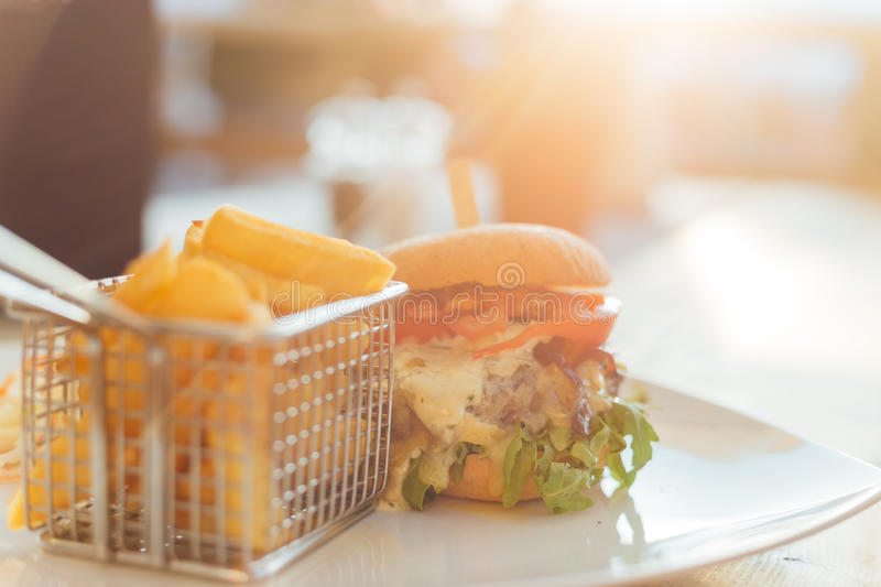Burger with Sunset stock photography