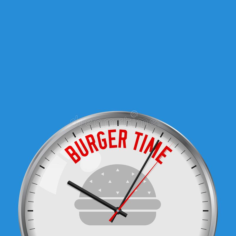 Burger Time. White Vector Clock with Motivational Slogan. Analog Metal Watch with Glass. Fastfood Icon. Burger Time. White Vector Clock with Motivational Slogan vector illustration