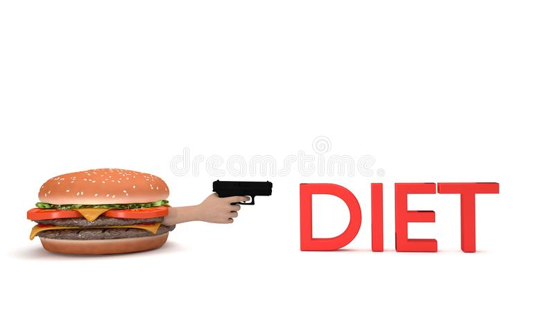 Burger about to kill diet stock illustration
