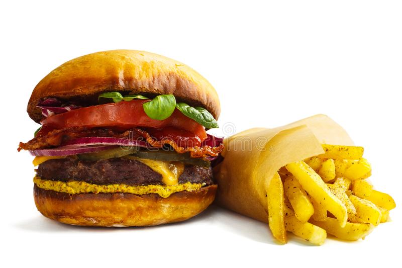 Burger und Pommes-Frites stockfotografie