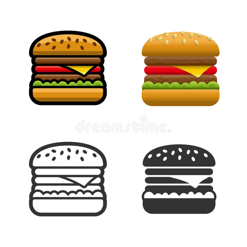 Burger vector colored icon set. Burger vector cartoon, colored, contour and silhouette styles icon set. Tasty fast food unhealthy meal. Isolated dishes on white royalty free illustration