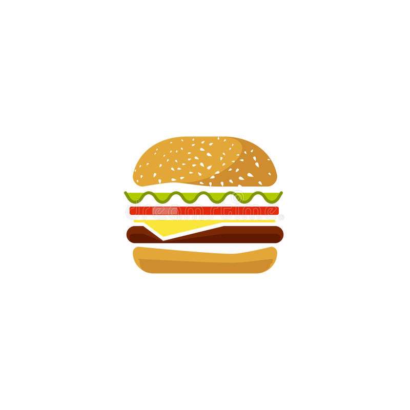 Burger vector icon isolated, flat cartoon sandwich logotype clipart, hamburger symbol. Burger vector icon isolated on white background, flat cartoon sandwich stock illustration