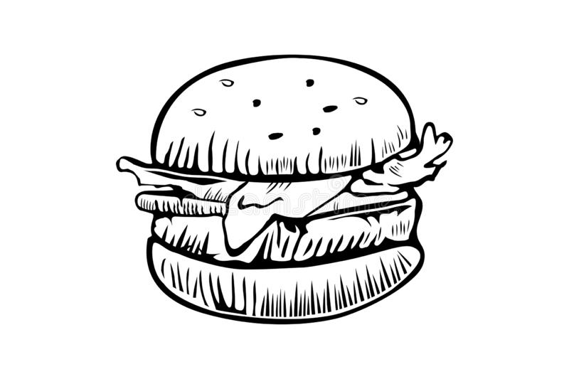 Burger vector logo design template. Fast food or restaurant icon. Hand drawn illustration of hamburger burger sandwich royalty free illustration