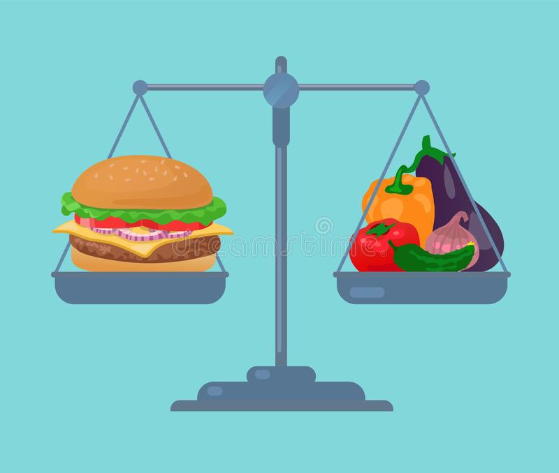 Burger and vegetables balance on the scale. Healthy food stock illustration