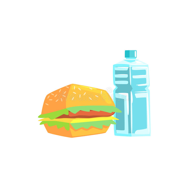 Burger And Water Lunch Set Items Cool Colorful Vector Illustration royalty free illustration
