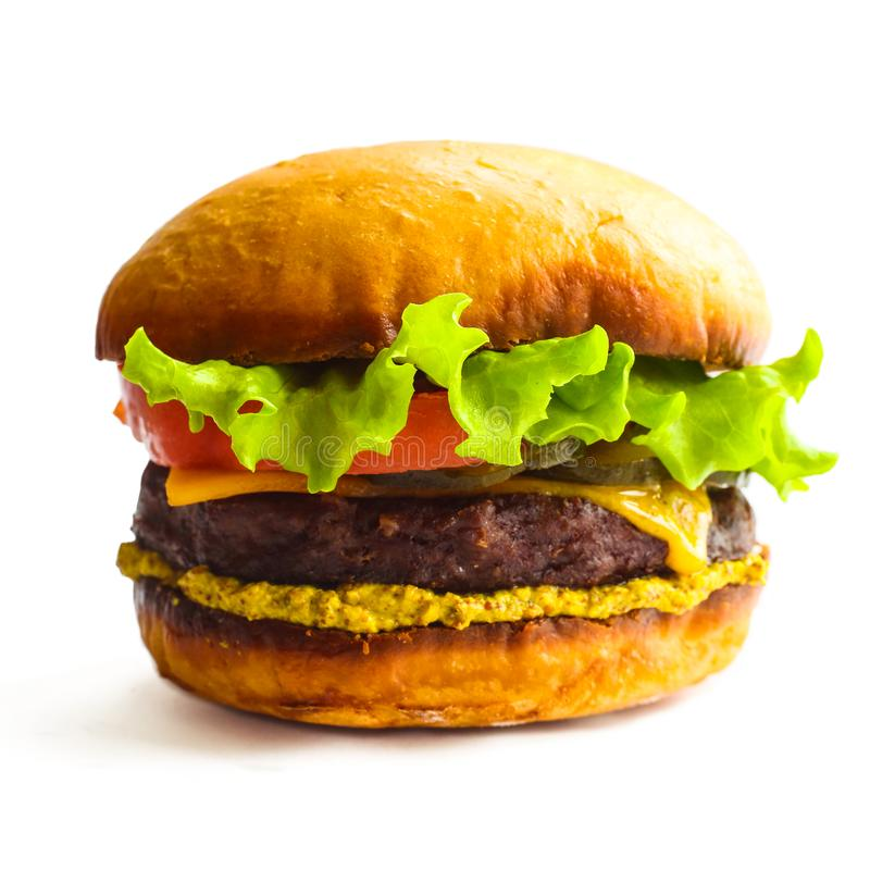 Burger on white stock photos