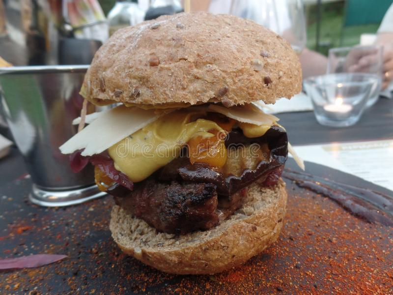 Burger in a wholemeal bun served with fries royalty free stock image