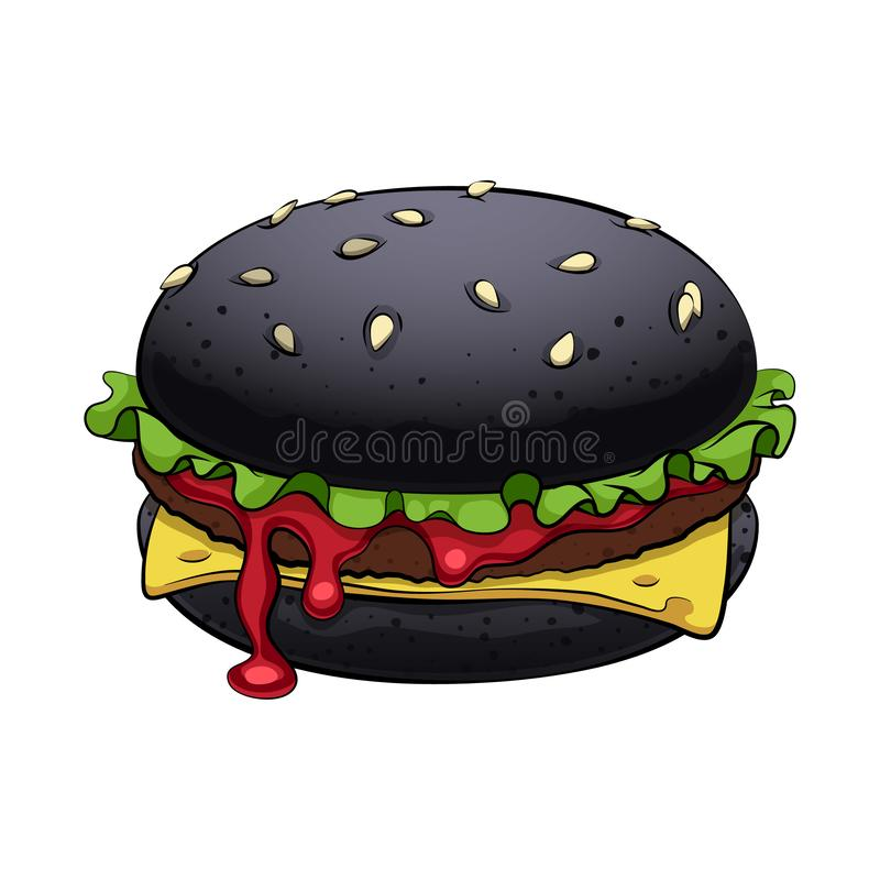 Free Burger With Black Bun Vector Illsutration. Trendy Fast Food. Royalty Free Stock Photos - 161058608