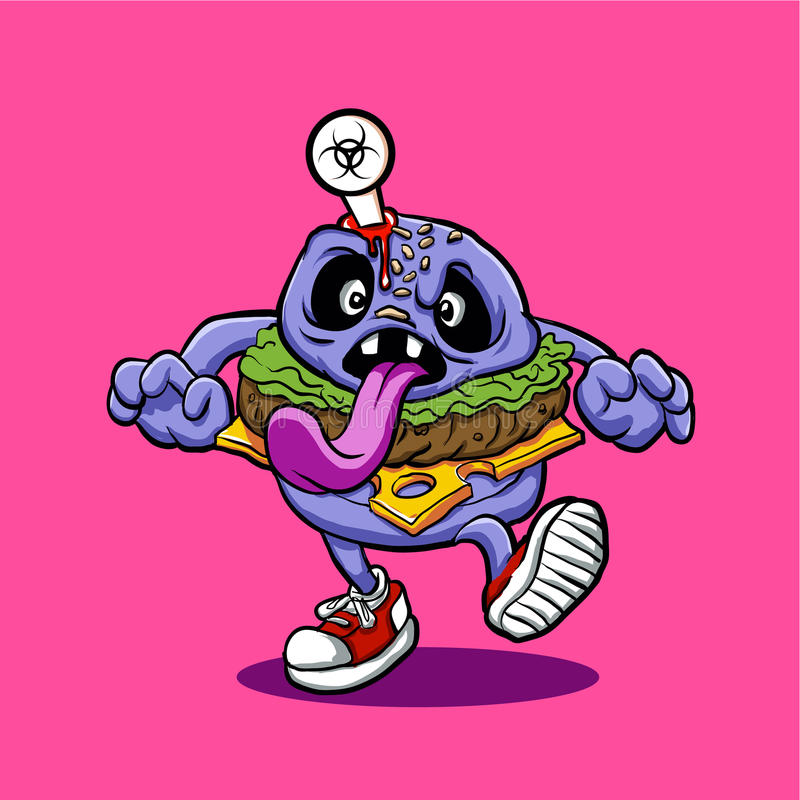 Burger Zombie Burger κινούμενων σχεδίων διανυσματική απεικόνιση