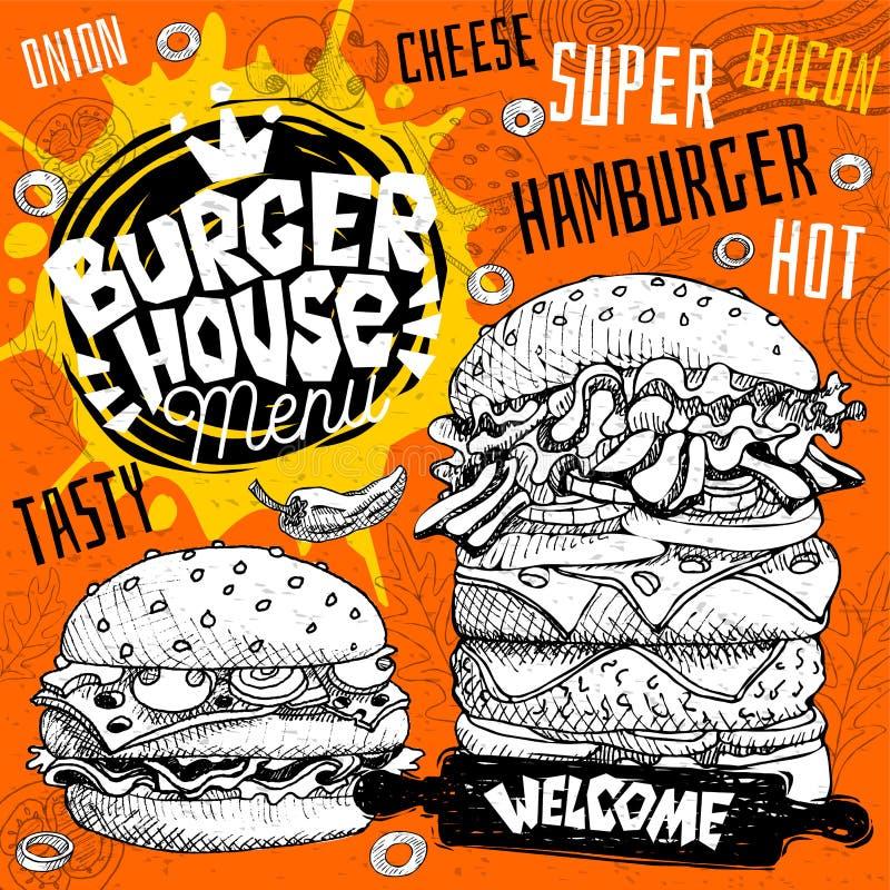 Burgerhauscafé-Restaurantmenü Vector Schnellimbiss-Fliegerkarten des Hamburgers für Stangencafé Entwerfen Sie Schablone, Logo, Em vektor abbildung