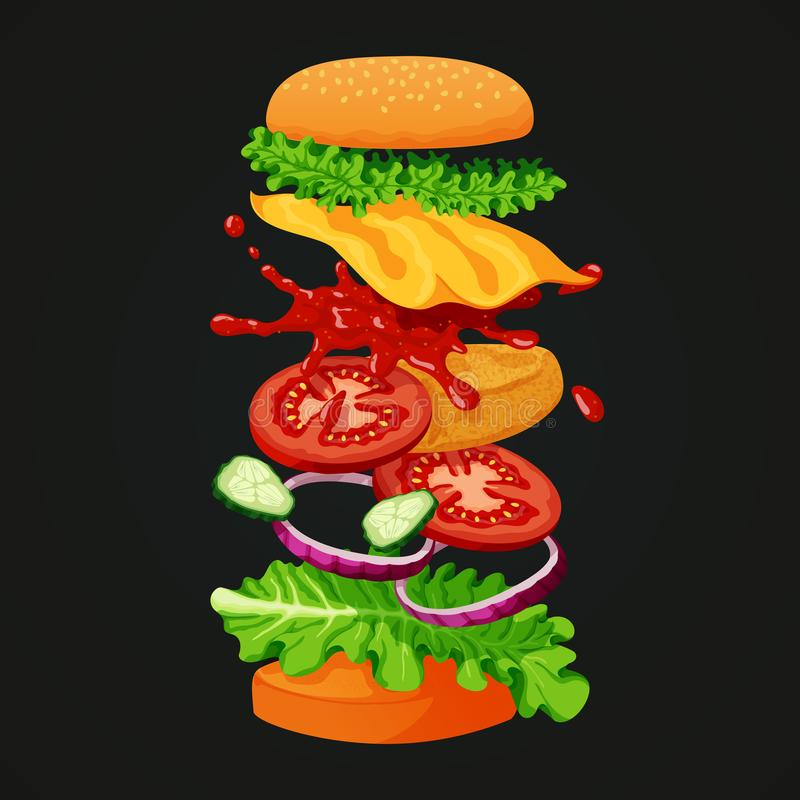 Burgerikone Überzogenes Pastetchen, Kopfsalat, Käse, Ketschup, Gurken, vektor abbildung