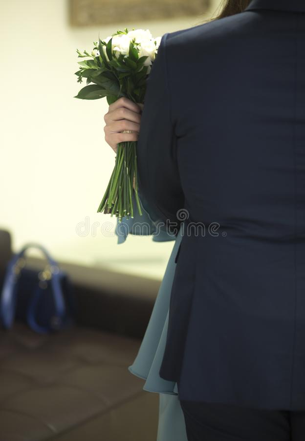 Burgerlijk huwelijks bruids boeket stock foto's