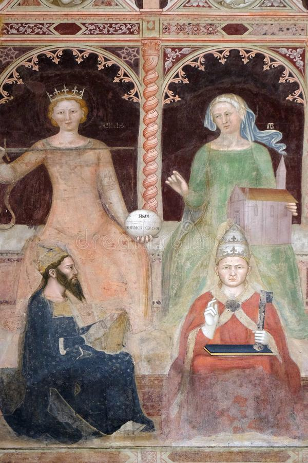 Burgerlijk wet-Justinian, Canoniek wet-Mild V, Santa Maria Novella-kerk in Florence stock afbeeldingen