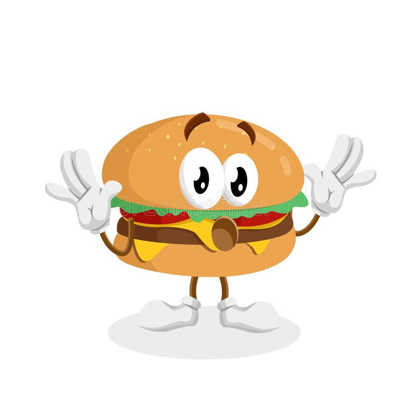 Burgermascot e posa di sorpresa del fondo royalty illustrazione gratis