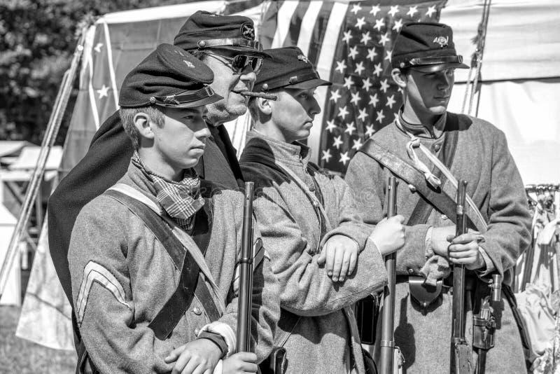 Burgeroorlog re-enactement in Duncans-Molens, CA, de V.S. royalty-vrije stock fotografie