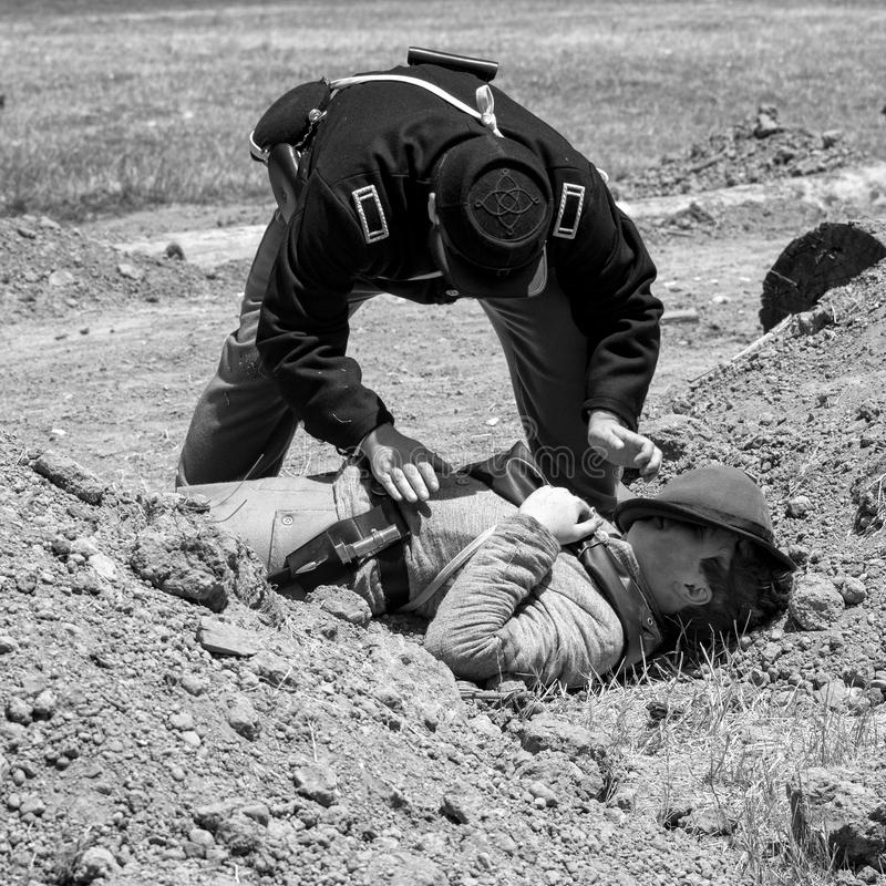 Burgeroorlog re-enactement in Duncans-Molens, CA, de V.S. stock foto's