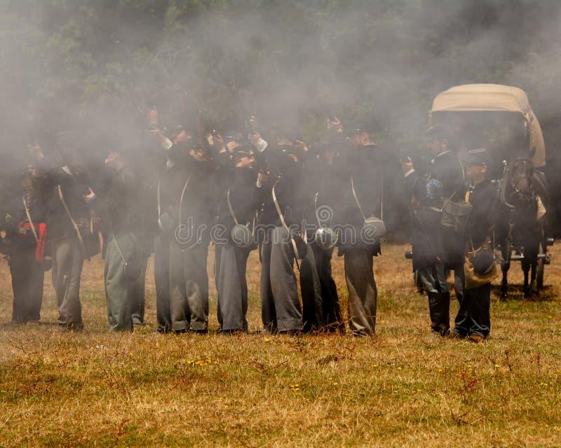 Burgeroorlog re-enactement in Duncans-Molens, CA, de V.S. stock afbeelding