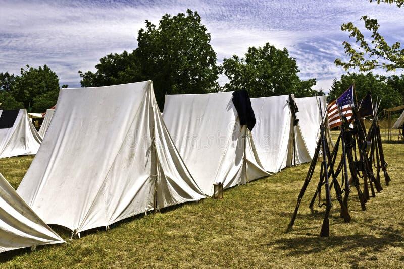 Burgeroorlogtenten stock fotografie