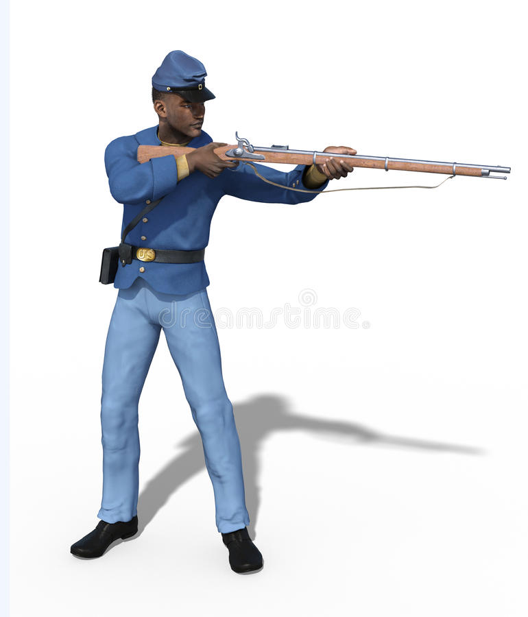 Burgeroorlogunie Militair Aiming Rifle vector illustratie