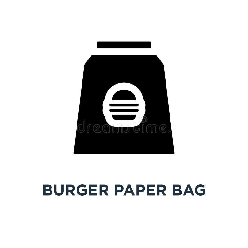 Burgerpapiertüteikone Einfache Elementillustration Nehmen Sie Fa weg vektor abbildung
