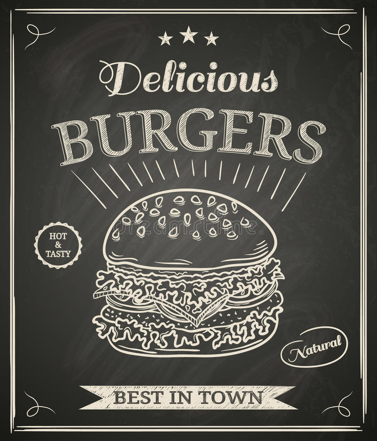 Burgerplakat stock abbildung